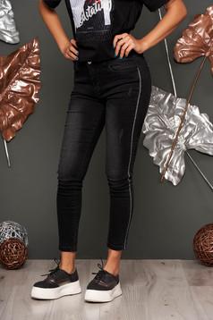 Blugi SunShine negri lungi casual cu talie medie skinny din denim cu buzunare