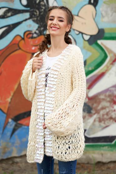 Cardigan crem lunga casual din material tricotat cu croi larg cu aplicatii cu paiete holografice