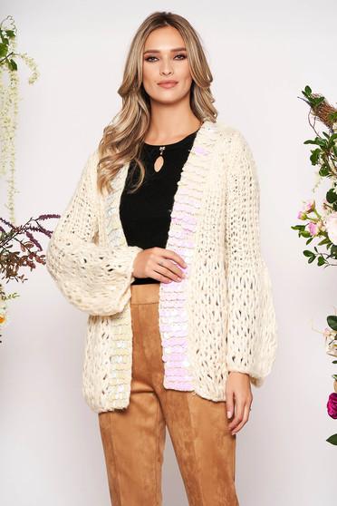 Cardigan crem lunga casual din material tricotat cu croi larg si aplicatii cu paiete holografice