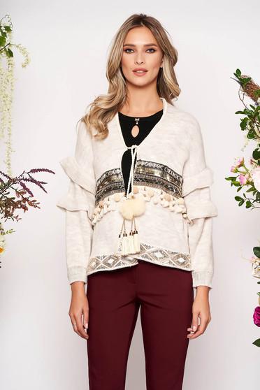 Cardigan crem casual cu croi larg din material tricotat cu aplicatii cu paiete cu snur