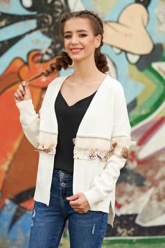 Cardigan SunShine alb casual tricotat cu croi larg cu maneci lungi cu aplicatii cu paiete