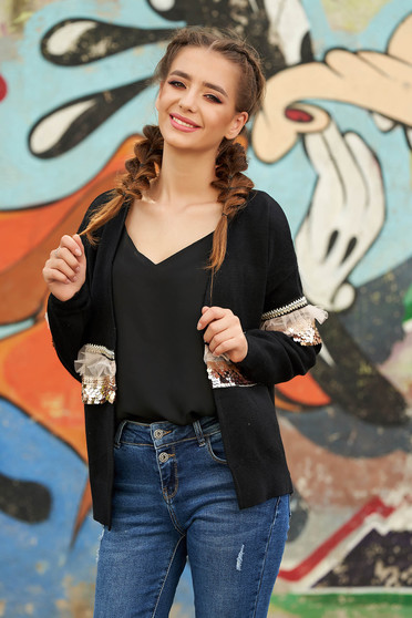 Cardigan negru casual tricotat cu croi larg cu maneci lungi cu aplicatii cu paiete