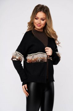 Black cardigan casual knitted with easy cut with sequin embellished details long sleeved