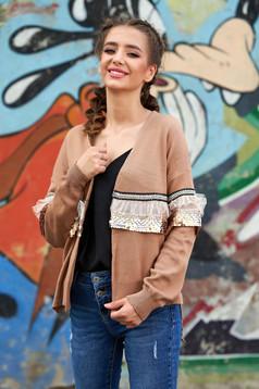 Cardigan SunShine maro casual tricotat cu croi larg cu maneci lungi cu aplicatii cu paiete