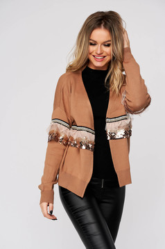 Brown cardigan casual knitted with easy cut with sequin embellished details long sleeved