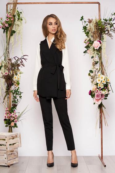 Compleu negru elegant din 2 piese cu pantalon din stofa subtire cu cordon detasabil