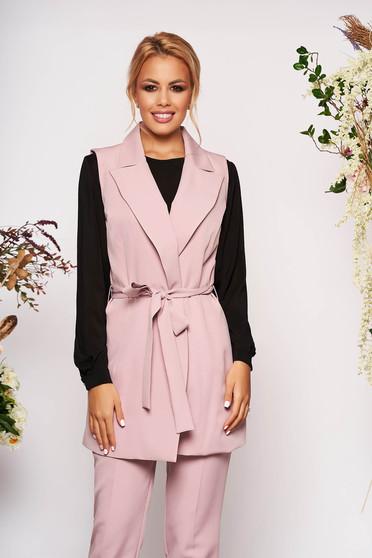 Compleu roz prafuit elegant din 2 piese cu pantalon din stofa subtire cu cordon detasabil