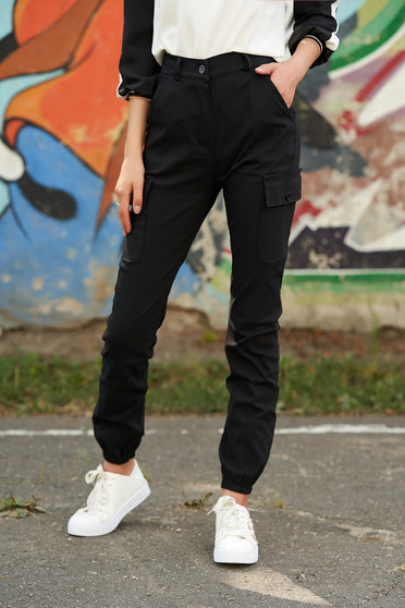Pantaloni SunShine negri casual din imitatie de denim cu talie inalta cu buzunare in fata si laterale