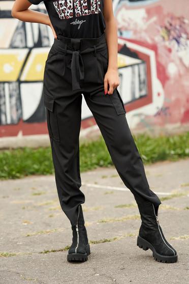 Pantaloni SunShine negri casual cu talie inalta cu buzunare in fata si laterale cu cordon detasabil