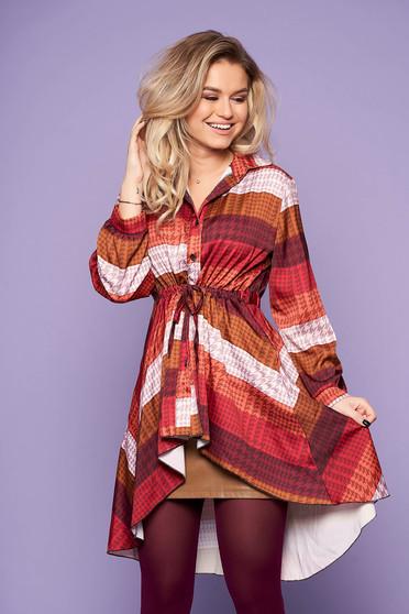 Bluza dama SunShine maro casual de zi asimetrica cu maneci lungi cu snur in talie si imprimeuri grafice