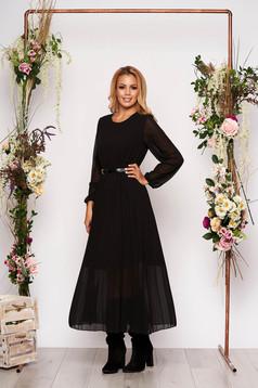 Rochie SunShine neagra eleganta midi plisata cu croi larg din voal cu curea din imitatie de piele