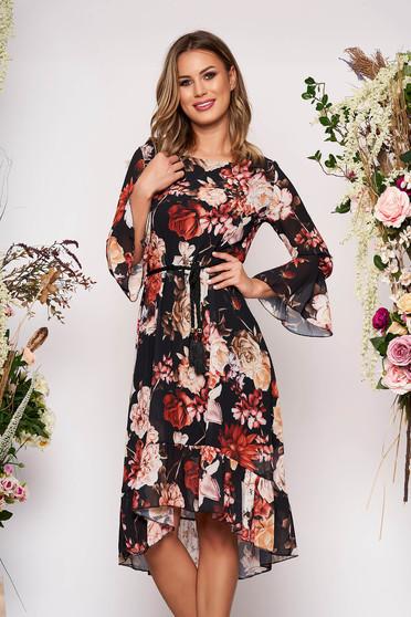 Rochie SunShine neagra midi de ocazie cu croi larg asimetrica din voal cu decolteu rotunjit si imprimeu floral