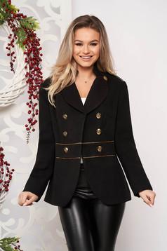 Jacheta LaDonna neagra scurta eleganta din material gros cu maneca lunga si inchidere cu nasturi aurii