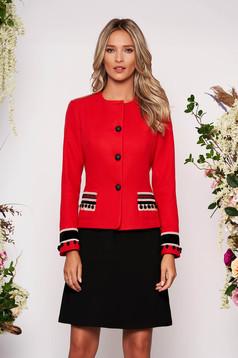 Sacou LaDonna rosu din lana cambrat elegant tip blazer cu aplicatii cusute manual