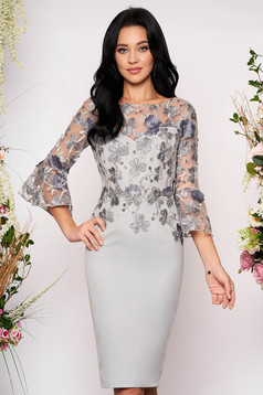 Grey dress occasional midi pencil with 3/4 sleeves with bell sleeve lace and sequins details