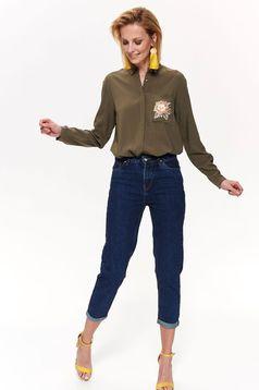 Pantaloni Top Secret albastri casual din denim cu talie medie si buzunare in fata si in spate