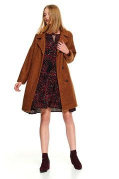 Palton Top Secret piersica casual cu croi larg cu buzunare si inchidere cu capse