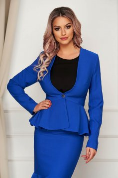 Sacou StarShinerS albastru elegant scurt din stofa usor elastica cu maneci lungi captusit pe interior