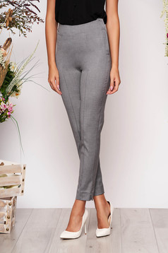 StarShinerS grey elegant office trousers high waisted slightly elastic fabric with pockets