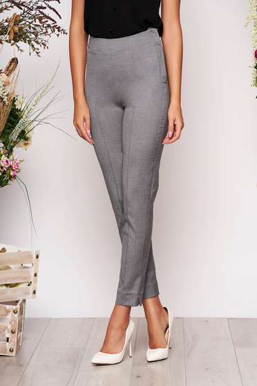 Pantaloni StarShinerS gri eleganti office cu talie inalta din material usor elastic cu buzunare