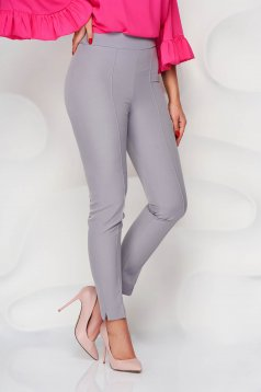 StarShinerS grey trousers office high waisted slightly elastic fabric with pockets conical