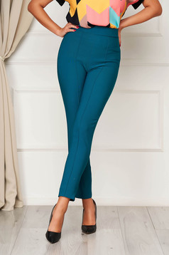 StarShinerS green elegant office trousers high waisted slightly elastic fabric with pockets