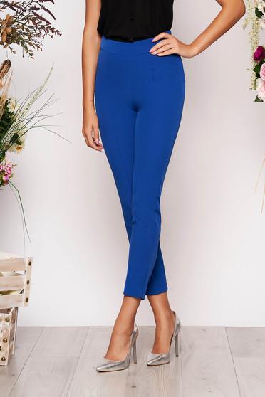 Pantaloni StarShinerS albastri eleganti office cu talie inalta din material usor elastic cu buzunare