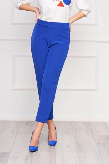 Pantaloni StarShinerS albastri office conici din stofa elastica cu talie inalta si buzunare