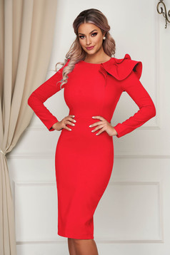 Dress StarShinerS red with tented cut slightly elastic fabric with ruffled sleeves