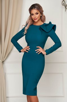 Dress StarShinerS dirty green with tented cut slightly elastic fabric with ruffled sleeves