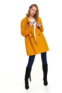 Palton Top Secret galben office scurt pe gat cu croi larg cu buzunare si inchidere cu nasturi