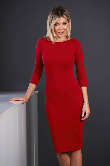 StarShinerS red dress office midi pencil from elastic fabric with 3/4 sleeves