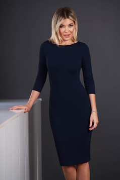 StarShinerS darkblue dress office midi pencil from elastic fabric with 3/4 sleeves