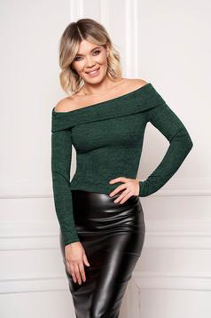 Pulover StarShinerS verde elegant scurt mulat din material tricotat cu maneci lungi si umeri goi