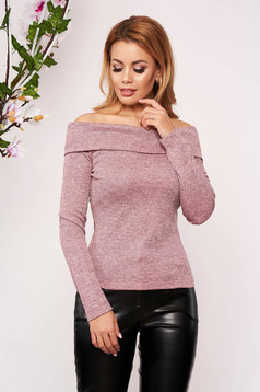 StarShinerS lightpink sweater elegant short cut tented long sleeved naked shoulders knitted fabric