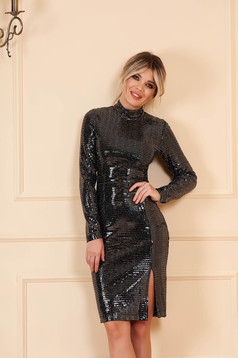 StarShinerS black clubbing dress with tented cut long sleeve