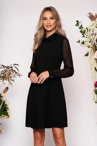 Rochie LaDonna neagra midi de ocazie cu croi in a din stofa cu guler cu maneci lungi transparente cu buzunare