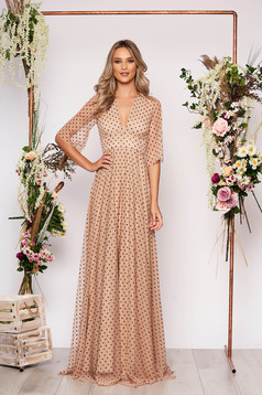 Cream dress occasional long cloche from tulle dots print with deep cleavage large sleeves transparent sleeves with 3/4 sleeves