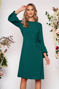 Midi elegant cloth flared long sleeved detachable cord green dress