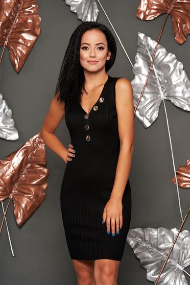 Rochie SunShine neagra scurta de zi tip creion din material tricotat fara maneci cu decolteu in v accesorizata cu nasturi