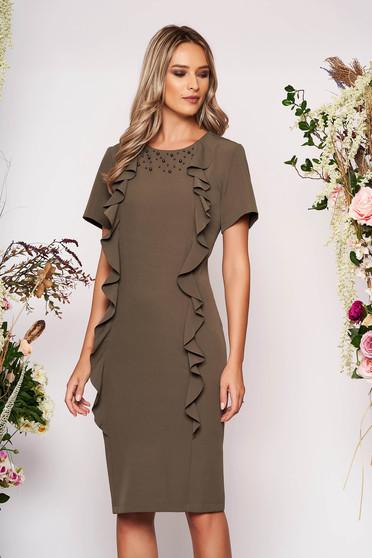 Rochie khaki eleganta midi din stofa usor elastica cu aplicatii cu perle cu volanase
