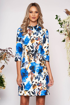 Blue dress elegant short cut a-line with floral print scuba with collar with pockets