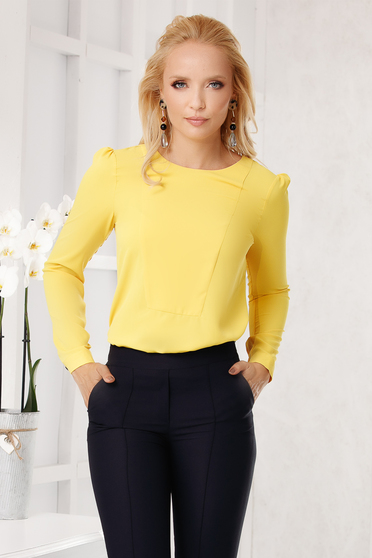 Bluza dama Fofy galbena eleganta cu croi larg din voal cu maneci lungi si decolteu la baza gatului