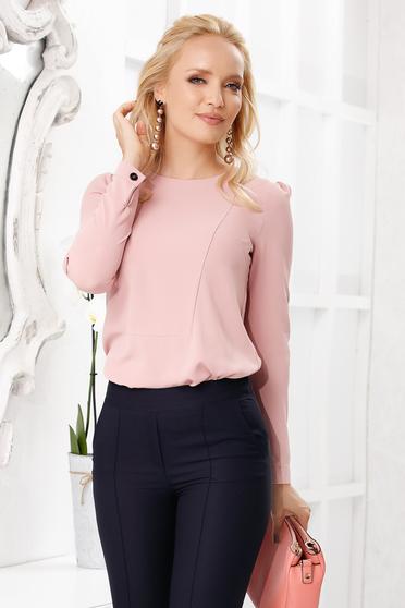 Bluza dama Fofy roz prafuit eleganta cu croi larg din voal cu maneci lungi si decolteu la baza gatului