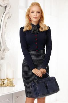 Camasa dama Fofy albastru-inchis scurta eleganta mulata din bumbac cu accesoriu tip cravata