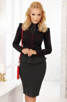 Camasa dama Fofy neagra scurta eleganta mulata din bumbac cu accesoriu tip cravata