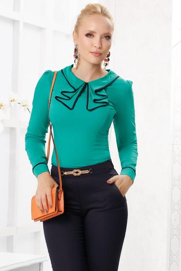 Camasa dama Fofy verde eleganta mulata din bumbac subtire cu guler cu volanase