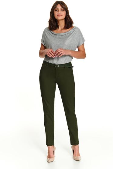 Pantaloni Top Secret verzi casual lungi conici cu buzunare si curea din imitatie de piele