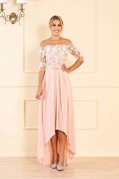 StarShinerS peach dress occasional midi cloche from veil fabric detachable cord with 3/4 sleeves naked shoulders