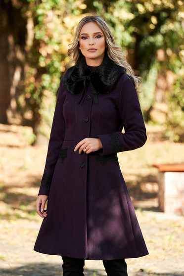 Palton LaDonna mov best impulse elegant din lana cu insertii de broderie captusit pe interior cu buzunare